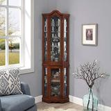 BELLEZE Loraine Canted Front Corner Lighted Curio Cabinet with 5 Tier Shelves, Walnut