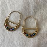 Anthropologie Jewelry | Anthropologie Multicolor Stone Gold Earrings | Color: Gold | Size: Os