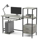 """Home Office Desk Mecor Study Writing Computer Desk 55"""" with Drawers/Keyboard Tray/Storage Shelves, Modern Simple Style PC Desk Laptop Study Table Workstation for Home Office (Oak Grey)"""