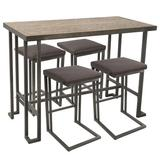Laurel Foundry Modern Farmhouse® Calistoga 5 Piece Counter Height Pub Table Set, Metal/Solid Wood/Wood in Antique Brown, Size Small (Seats up to 4)
