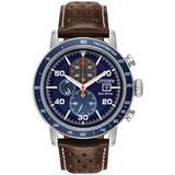Chronograph Brycen Chestnut Brown Leather Strap Watch 44mm - Brown - Citizen Watches