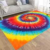Area Rugs 5X7,Jacrane Farmhouse Area Rug Non Skid Area Rugs Colorful Tie Dye Abstract Pattern Swirl Area Rugs for Girls Area Rugs for Living Room Playroom Area Rug