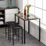 Andover Mills™ Baby & Kids 3 Piece Counter Height Dining SetMetal/Upholstered Chairs in Black, Size 32.29 H x 23.63 W x 35.44 D in | Wayfair