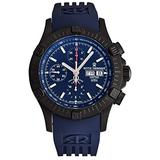 Revue Thommen Airspeed Men's Automatic Chronograph Watch - Round Blue Dial with Luminous Hands, Day and Date - Sapphire Crystal and Blue Rubber Strap Swiss Made Watch for Men 16071.6876