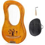 RROWER Lyre Harp,10 Metal String Harp Heptachord Harp,with Durable Steel Strings Wood String Musical Instrument,Black Gig Bag,for Music Lovers Beginners Kids Adult