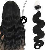 Moresoo 20 Inch Remy Micro Loop Hair Extensions Micro Links Hair Extensions Human Hair Body Wave Color #1B Off Black Soft Hair Microbead Hair Human Hair Black Fusion Extensions 50S 50G