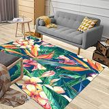 Jacrane Outdoor Area Rug 5X7 Area Rug Soft Area Rug Tropical Pattern Exotic Flowers Bird Paradise Background Large Area Rug Farmhouse Area Area Rugs for Living Room Cozy Area Rug Modern Area Rug
