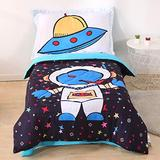 Wowelife Astronaut Toddler Bedding Set 4 Piece Toddler Bed Set with Comforter, Flat Sheet, Fitted Sheet and Pillowcase(Astronaut)