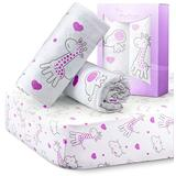 Stretchy Fitted Crib Sheets for Baby Girls, Ultra Soft Jersey Knit Cotton, Fits Standard Crib & Toddler Mattress, Size 28in x 52in, 2 Pack Set, Purple Elephants & Purple Animals Nursery Sheet