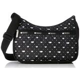 LeSportsac Love Me Most Classic Hobo Crossbody Bag + Cosmetic Bag, Style 7520/Color F517, Modern Multi-Color Hearts & Dots on Classic Black Bag