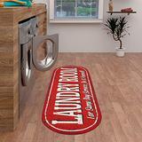 "Ottomanson Laundry Mat Runner Rug, Red, 20""X59"" Oval"