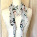 Anthropologie Accessories   Anthropologie Scarf Chiffon Floral Ruffledtapered   Color: Gray   Size: 60 L X 6 W