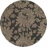 Brookhaven 8' Round Transitional Transitional Floral Wool Charcoal/Taupe Runner - Hauteloom