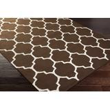 Saffell 8' x 10' Transitional Modern Moroccan Flatweave Cotton Chocolate Brown/Ivory Area Rug - Hauteloom