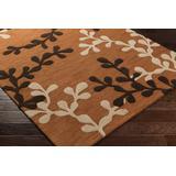 Peetz 9' x 13' Transitional Transitional Tranquil Wool Tangerine/Chocolate Brown Area Rug - Hauteloom
