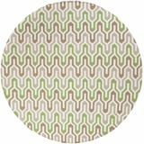 Penryn 8' Round Transitional Flatweave Moroccan Trellis Wool Dark Green/Ivory/Camel Runner - Hauteloom
