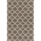 """Bevington 5' x 7' 6"""" Transitional Modern Moroccan Flat Weave Cotton Taupe/Ivory Area Rug - Hauteloom"""
