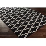 Stilesville 9' x 13' Modern Modern Moroccan Trellis Wool Black/Cream Runner - Hauteloom