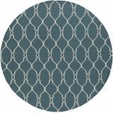Allenspark 8' Round Transitional Flat Weave Moroccan Wool Medium Gray/Beige Runner - Hauteloom