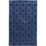 Westley 6' x 9' Solid & Border Updated Moroccan Trellis Wool Dark Blue Area Rug - Hauteloom