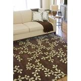 Burford 9' x 13' Floral and Paisley Transitional NZ Wool Dark Brown/Lime Area Rug - Hauteloom