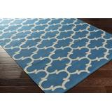 Hightstown 8' x 10' Transitional Modern Moroccan Flat Weave Cotton Royal Blue/Ivory Area Rug - Hauteloom