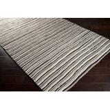 Edmeston 2' x 3' Geometric, Stripes, Shag Solid Stripes NZ Wool Beige/Chocolate/Rust/Eggplant/Taupe/Black/Ivory/Light Gray Area Rug - Hauteloom