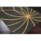 "Mallie 9'9"" Round Modern Contemporary Abstract Wool Mustard/Charcoal Runner - Hauteloom"