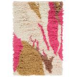 Crenshaw 2' x 3' Shag Shag Moroccan Bohemian Wool Pale Pink/Bright Pink/Tan/Dark Brown Area Rug - Hauteloom