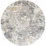 "Lenzburg 7'10"" Round Modern Charcoal/Light Gray/Medium Gray/Mustard Area Rug - Hauteloom"