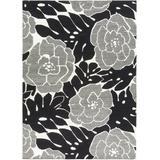 Hensley 8' x 11' Floral and Paisley Flat Weave Moroccan Bohemian Wool Black/Light Beige Area Rug - Hauteloom