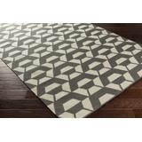 Linglestown 4' x 6' Modern Flat Weave Moroccan Trellis Wool Charcoal/Ivory Area Rug - Hauteloom
