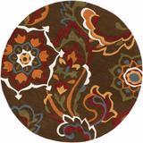 Roseboro 8' Round Transitional Contemporary Global Dark Brown/Dark Red/Olive/Khaki/Burnt Orange/Denim/Mustard Runner - Hauteloom