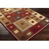 "Lengby 9'9"" Round Modern Contemporary Geometric Wool Tan/Dark Brown/Brick/Burgundy/Khaki/Camel Runner - Hauteloom"