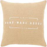 "Lakeland 18"" x 18"" Natural Fiber Jute Wheat/Ivory Pillow Cover - Hauteloom"