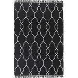 Hawthorne 5' x 8' Indoor / Outdoor Flat Weave Moroccan Trellis Black/White Area Rug - Hauteloom