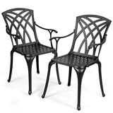 Giantex Set of 2 Outdoor Dining Chairs, Cast Aluminum Chairs with Armrest, 2-Pack Patio Armchairs for Garden, Backyard