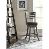 "Charlton Home® Buckelew Bar & Counter Swivel Stool Seat Height: Counter Stool (24"" Seat Height), Seat, Wood/Upholstered in Gray | Wayfair"