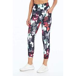 Bally Total Fitness Damen High Rise Pocket Mid-Calf Legging, Damen, Caprihose, High Rise Pocket Mid-Calf Legging, Magenta mit Blumenmuster, Medium