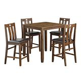 Benjara Square Counter Height Table with Slatted Faux Leather Chairs,Set of 5, Brown