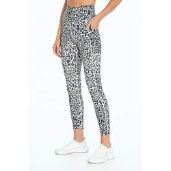 Bally Total Fitness Damen High Rise Pocket Mid-Calf Legging, Damen, Caprihose, High Rise Pocket Mid-Calf Legging, gesprenkelt Leopard Limelight, Large