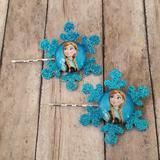 Disney Accessories   Anna From Frozen Snowflake Bobby Pin Set   Color: Blue   Size: Osg