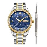 OLEVS Men Blue Dial Watches for Men Diamond Inexpensive Luxury Watches for Men Waterproof Calendar Date Mens Analog Watch Blue Face Stainless Steel Classic Wrist Watch