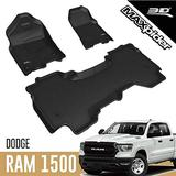 3D MAXpider All-Weather Floor Mats for Dodge Ram 1500 Quad Cab 2019-2020 (1st Row Bucket Seat, 2nd Row w/o underseat Storage) Custom Fit Car Floor Liners, Kagu Series (1st & 2nd Row, Black)