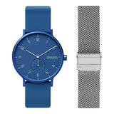 Skagen Men's Aaren Kulor Quartz Silicone Watch Color: Blue, 41 (Model: SKW6508) with Skagen Men's 20mm Stainless Steel Mesh Watch Strap, Color: Silver (Model: SKB6039)