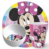 Zak Designs Kids Dinnerware Set Disney Minnie Mouse, Includes Plate, Bowl, and Tumbler, Non-BPA Made of Durable Melamine Material and Perfect for Kids (3-Piece Set)