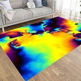 Area Rugs 5X7,Jacrane Farmhouse Area Rug Non Skid Area Rugs Geometrical Abstract Pattern Colorful Psychedelic Art Background Area Rugs for Girls Area Rugs for Living Room Playroom Area Rug