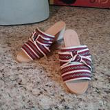 Anthropologie Shoes | Anthropologie Canvas Striped Bow Wedge Sandals Nib | Color: Cream/Red | Size: 6 Us37 Euro