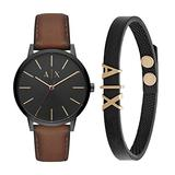 Armani Exchange Men's Cayde Stainless Steel Analog-Quartz Watch with Leather Strap, Brown, 20 (Model: AX2706) with Armani Exchange Black Leather Bracelet