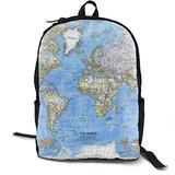 National Geographic World Map Backpack Personality Polyester Pu Leather Travel Daypacks/School Backpack/Outdoor Sports Bag Men